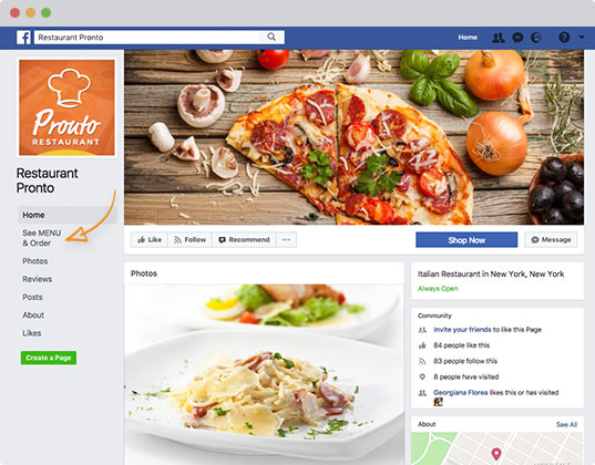 facebook ordering page example